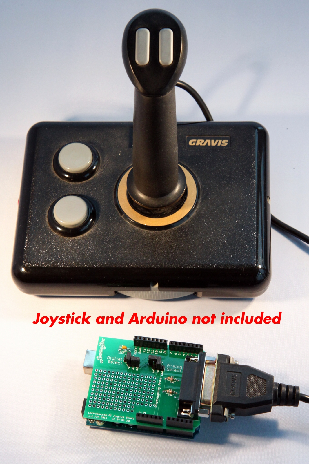 JoystickCaptioned arduino joystick shield for pc game port joysticks 15 pin gameport to usb wiring diagram at webbmarketing.co